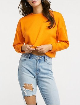 Brushed French Terry Crop Sweatshirt by Charlotte Russe