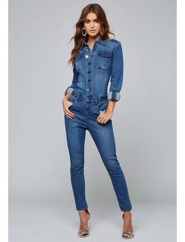 Denim Rancho Jumpsuit by Bebe