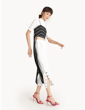 Cropped Buttoned Slit Pinstripe Pants by Pomelo