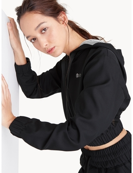 Push Up Front Tie Crop Hoodie   Black by Pomelo