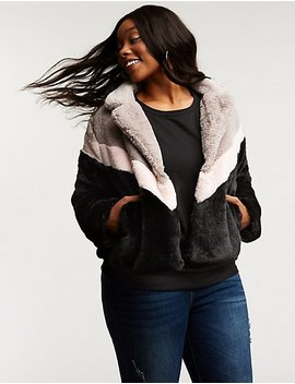 Plus Size Chevron Faux Fur Jacket by Charlotte Russe