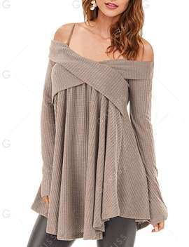 Open Shoulder Crisscross Tunic Sweater by Gamiss