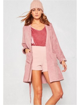 Cadee Pink Cord Belted Jacket by Missy Empire