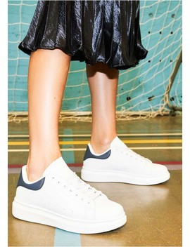 Megan White Navy Faux Leather Chunky Trainers by Missy Empire