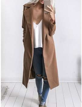 Wool Blend Lapel Duster Coat by Gamiss