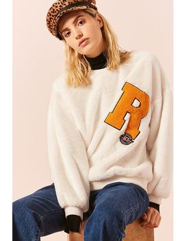 Patch Graphic Faux Fur Jumper by Forever 21