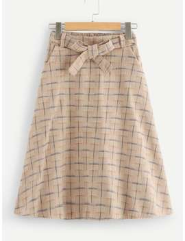Belted Plaid Print Skirt by Romwe