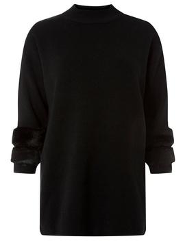 Black Faux Fur Cuff Longline Jumper by Dorothy Perkins