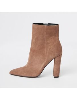 Light Brown Suede Pointed Toe Block Heel Boot by River Island