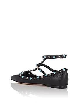Rockstud Leather Caged Flats by Valentino Garavani