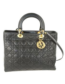Lady Dior Large Black Leather Tote by Dior