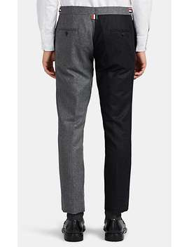 High Armhole Two Tone Wool Three Button Suit by Thom Browne