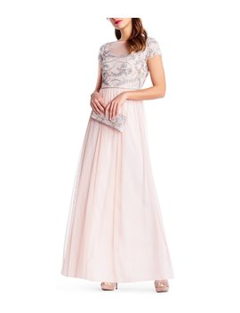 Beaded Bodice Cap Sleeve Gown by Adrianna Papell
