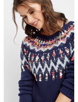 Ribbon Yoke Fairisle Sweater by Maurices