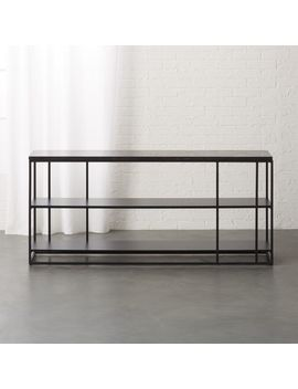 Caged Black Marble Media Console by Crate&Barrel