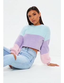 Lilac Colour Block Fluffy Balloon Sleeve Cropped Jumper by Missguided