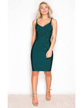 Arabella Tie Waist Bandage Bodycon Dress Emerald by Girl In Mind