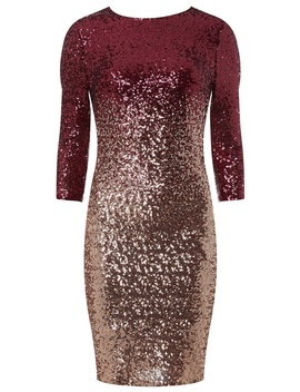 **Pink Ombre Sequin Bodycon Dress by Dorothy Perkins