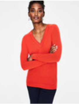 Cashmere Relaxed V Neck Jumper by Boden