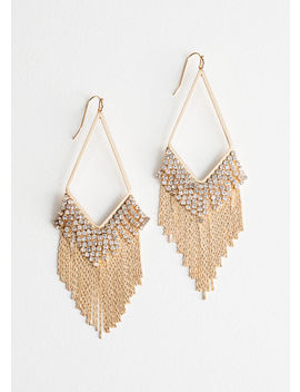 Rhinestone Fringe Hanging Earrings by & Other Stories