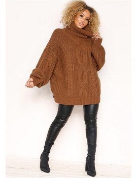 Francesca Brown Cable Knit Roll Neck Oversized Jumper by Missy Empire