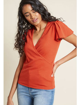 Compania Fantastica Flutter At The Thought Knit Top In Rust by Compania Fantastica