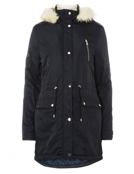 **Tall Navy Faux Fur Parka by Dorothy Perkins