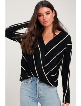Brinley Black Striped Long Sleeve Surplice Top by Lush