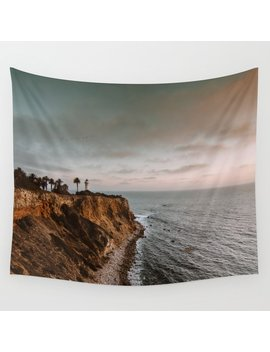 California Lighthouse Sunset Wall Tapestry by