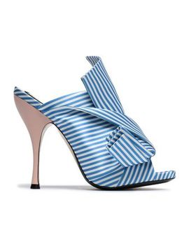Knotted Striped Satin Mules by N° 21