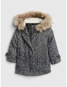 Herringbone Fur Trim Coat by Gap