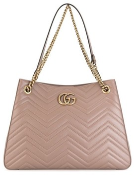 Marmont Gg Matelasse Shoulder Rose Poudre Leather Tote by Gucci