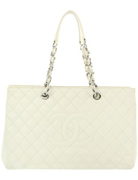 Shopping Tote Grand Xl Caviar White Leather Tote by Chanel