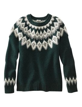 L.L.Bean Classic Ragg Wool Sweater, Fair Isle Zip Crewneck by L.L.Bean