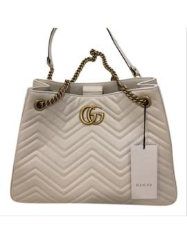 Marmont Matelassé Quilted Medium Chain Tote White Leather Shoulder Bag by Gucci