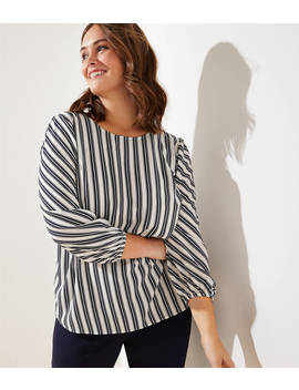 Loft Plus Striped Puff Sleeve Blouse by Loft