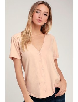 Taken Blush Pink Short Sleeve Button Up Top by Rvca