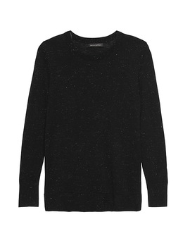 Metallic Wool Modal Crew Neck Sweater by Banana Repbulic