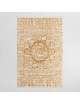 Gold Cotton Dhurrie Print Ariana Area Rug by World Market