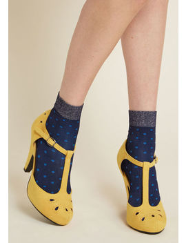 Sprinkle Of Sparkle Dotted Socks In Navy by Modcloth