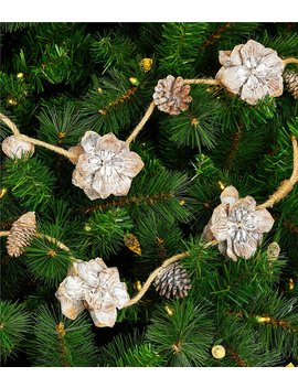 The Lodge Collection Natural Flower And Pinecone 6 Ft. Garland by Trimsetter