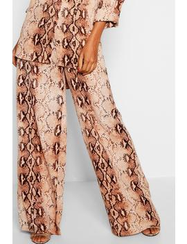 Snake Print Wide Leg Trousers by Boohoo