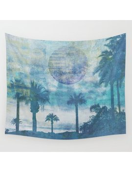 Pacific Paradise Island Blue Moon Wall Tapestry by