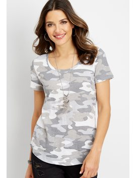 24/7 Scoop Neck Camo Tee by Maurices