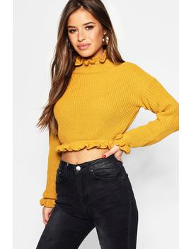 Petite Ruffle Neck Crop Jumper by Boohoo