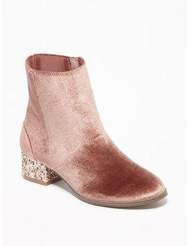 Velvet Glitter Block Heel Booties For Girls by Old Navy