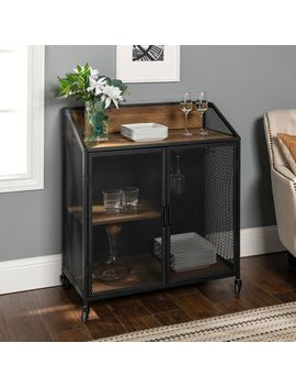 Industrial Rustic Oak Bar Cabinet With Metal Mesh Doors by Pier1 Imports