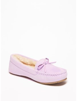 Sueded Faux Fur Lined Moccasins For Girls by Old Navy