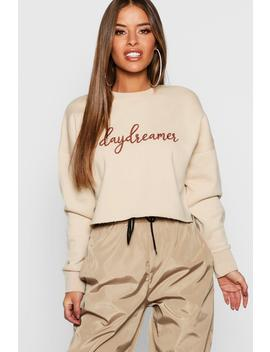 Petite Embroidered Slogan Raw Hem Sweat Top by Boohoo