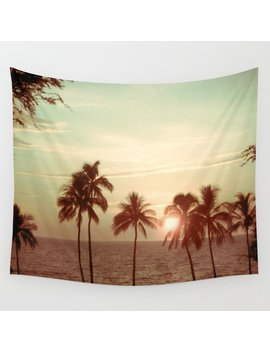 Sunset At Mauna Kea Beach, Hawaii Mint Wall Tapestry by